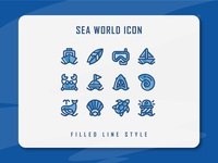 Sea World Icon Set seaworld sea website app branding icon a day icon artwork minimal flat web vector ux ui logo illustration icon set icon filled outline filled line design