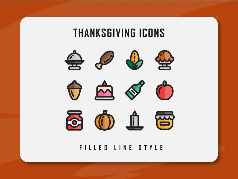 Thanksgiving Icon Set thanksgiving day thanksgiving website app branding icon a day icon artwork minimal flat web vector ux ui logo illustration icon set icon filled outline filled line design