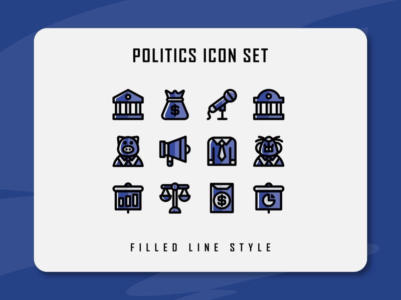 Politics Icon Set political politic website app branding icon a day icon artwork minimal flat web vector ux ui logo illustration icon set icon filled outline filled line design