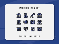 Politics Icon Set political politic website app branding icon a day icon artwork minimal flat web vector ux ui logo illustration icon set icon filled outline filled line design