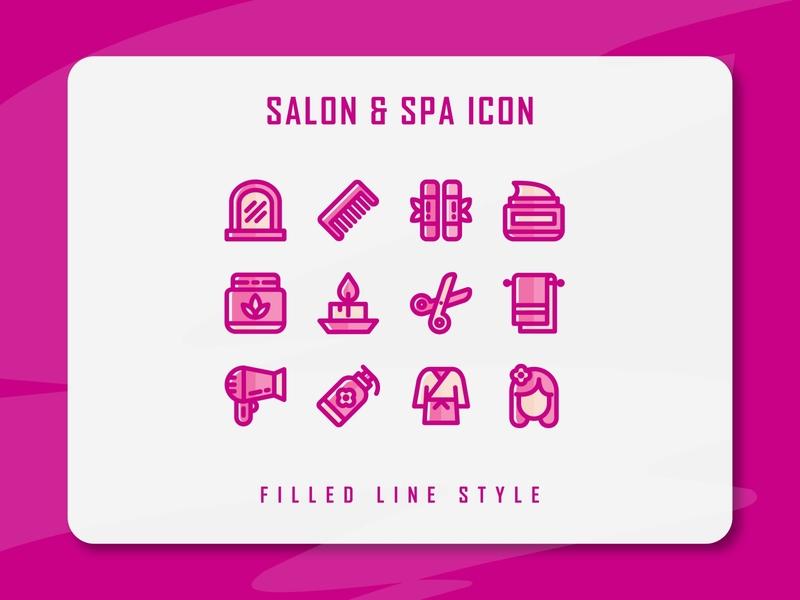 Salon & Spa Icon Set spa salon web vector ux ui logo illustration icon set icon filled outline filled line design