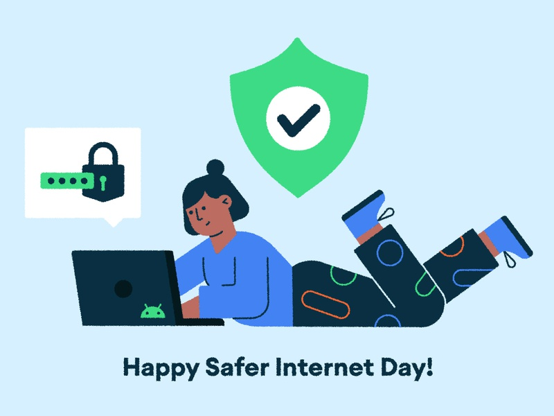 ╰(˵ヘωヘ✿)╯ developer lock internet person on laptop girl woman tech laptop shield password security character design vector character illustration