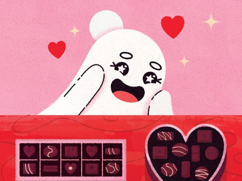 ヽ༼♥ل͜♥༽ノ cute ghost girl ghost gal heart hearts chocolates box of chocolates valentine day valentines vday ghost character design vector illustrator character texture illustration