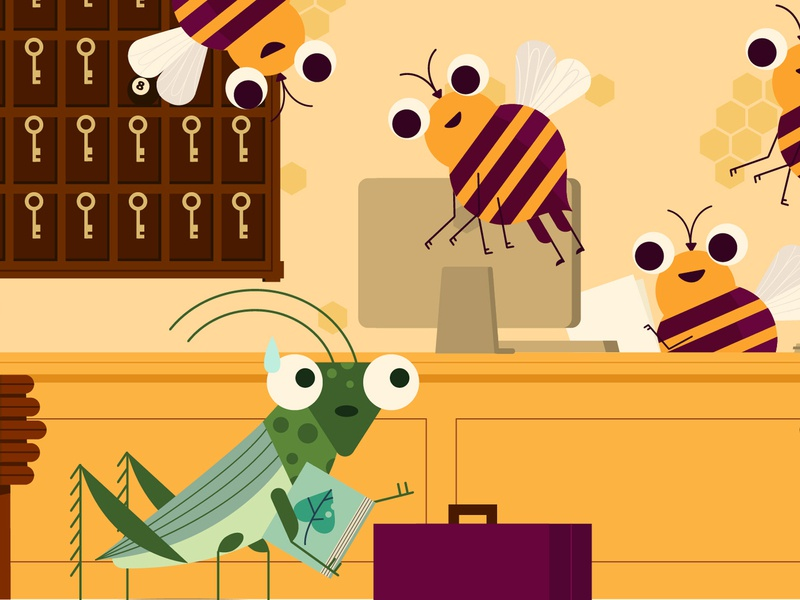 ╰[ ⁰﹏⁰ ]╯ educational education childrens illustration kidlitart kidlit hotel bees grasshopper bee insects bugs vector character design character illustrator illustration