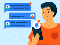 ┌( ಠ‿ಠ)┘ text messages phone tech conversation notification man character design vector character texture illustrator illustration