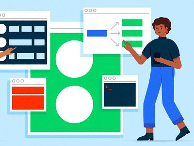 ୧〳 ^ ౪ ^ 〵୨ developer coding people browser user flows graphs charts ux ui design character design vector character texture illustrator illustration