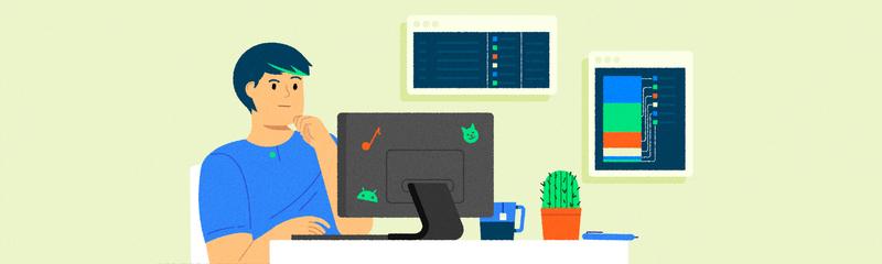 ✿*∗˵╰༼✪ᗜ✪༽╯˵∗*✿ office workspace desktop browser userflow coding developer ux ui character design vector character texture illustrator illustration