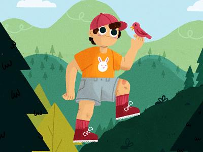 ヽ║ ˘ _ ˘ ║ノ walk child kidlit kid illustration kid hiking bird forest hike camper camp character design vector character texture illustrator illustration