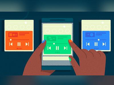 (つ˵•́ω•̀˵)つ━☆゚.*・。゚҉̛༽̨҉҉ノ ux mobile ui phone mobile music media player media ui hands photoshop vector character texture illustrator illustration nail polish