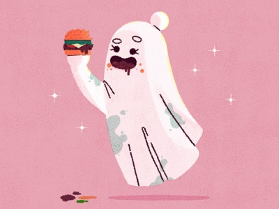 Brittany the ghost spooky burger ghost girl ghost gal ghost character design vector character texture illustrator illustration