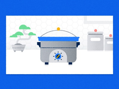 Crockpot illustration for Google recipe kitchen meal cook crockpot texture illustrator illustration