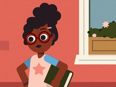 (^ ◕ᴥ◕ ^) glasses bookworm school educational kid education kidlit girl character design vector character illustrator illustration