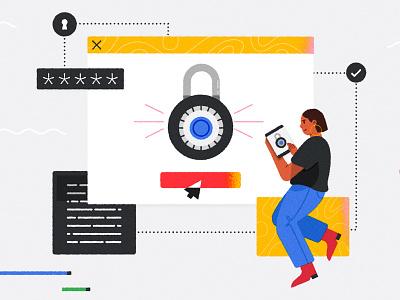 ヽ༼ ຈل͜ຈ༼ ▀̿̿Ĺ̯̿̿▀̿ ̿༽Ɵ͆ل͜Ɵ͆ ༽ノ google developer security tech password digital browser woman code character design vector character texture illustrator illustration