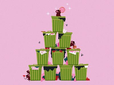 Merry Crustmas! holiday christmas card christmas rat trash garbage texture illustration christmas tree