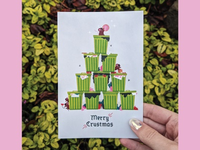 Merry Crustmas! christmas tree trash rat holiday card illustrator illustration holiday