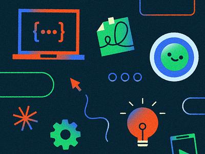 Android Developers devloper coder computers gear code light bulb design android vector texture illustrator illustration