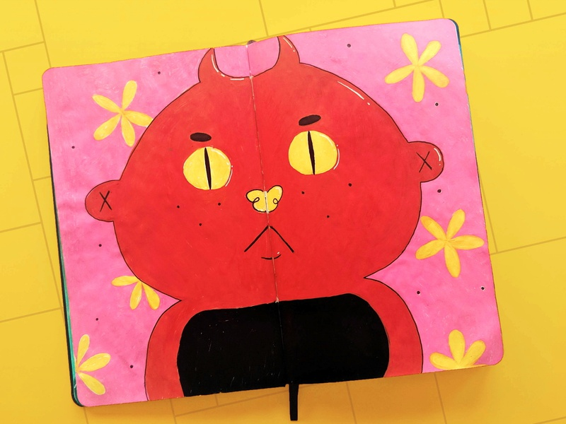 ╚═| ~ ಠ ₒ ಠ ~ |═╝ face sketchbook flowers devil character concept character design character illustration