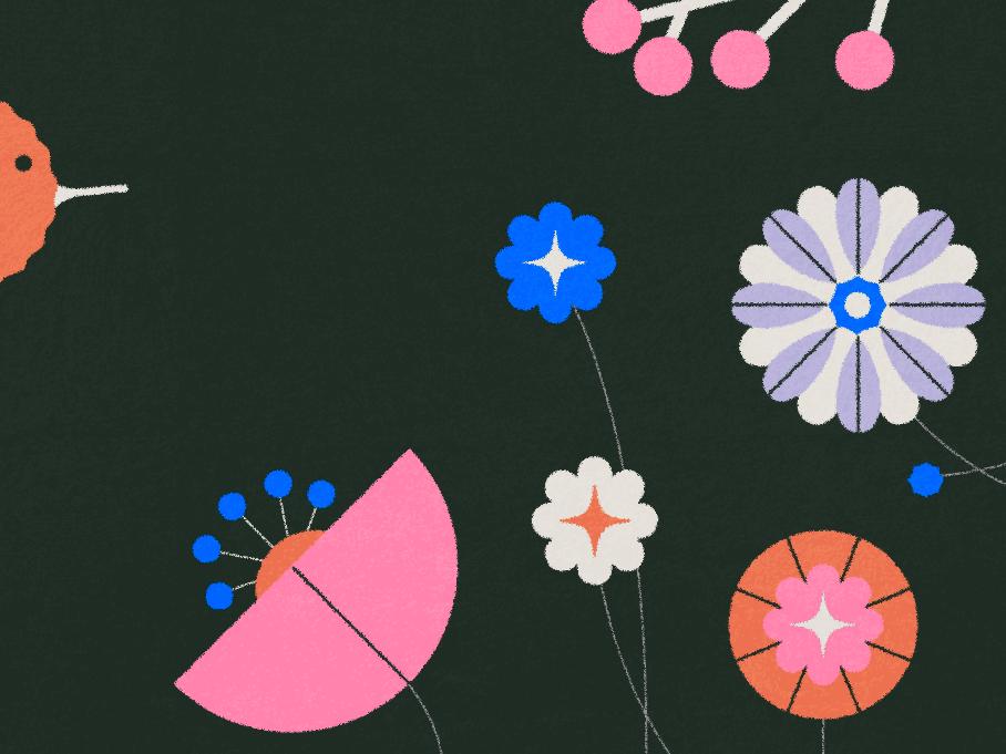 ┏(-_-)┓┏(-_-)┛┗(-_- )┓ modern spring garden flowers vector character texture illustrator illustration