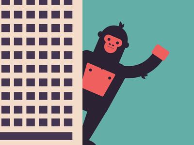 King Kong city illustration character vector skyscraper king kong gorilla