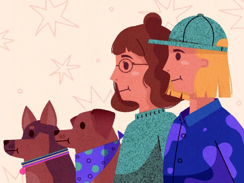 └໒( ♥ ◡ ♥ )७┘ relationship love pets dog women illustrator vector illustration texture design character portrait couple family portrait family