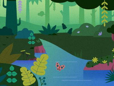 ╰[✿•̀o•́✿]╯ kidlit game design flowers forest butterfly trees jungle enviorment leaves leafy humid plants botanical rainforest landscape scenery background illustrator texture illustration