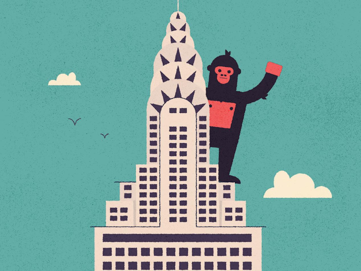 (V●ᴥ●V) new york nyc kidlit texture illustrator character design character illustration gorilla vector city skyscraper empire state building king kong