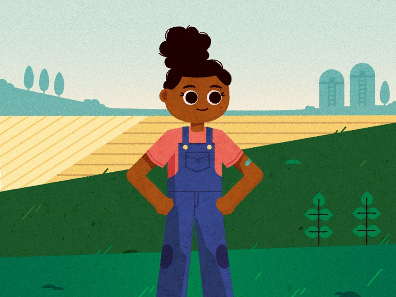 ⁞ ✿ •̀ ヮ •́ ✿ ⁞ hills fields outdoor tomboy overalls rural farm kidlitart child kid girl character design vector illustrator character texture illustration