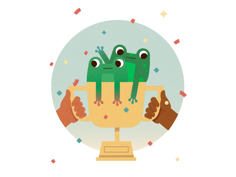 ᕙ〳 ರ ︿ ರೃ 〵ᕗ kidlitartist animal nature childrens book hands winner win confetti trophy frog texture illustration