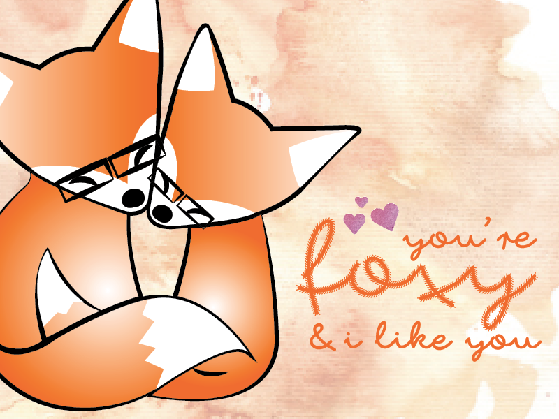 foxy greeting card puns foxy cute fox vector graphic design typography illustration