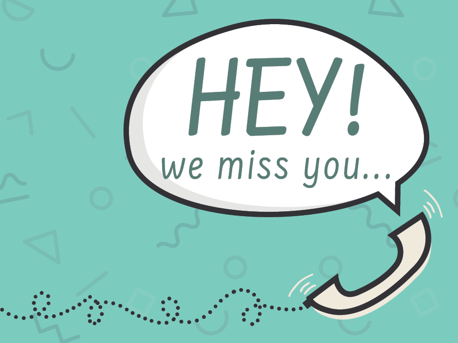we miss you lost customer print design postcard design direct mail design graphic design marketing typography 90s
