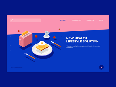 Lifestyle Illustration/Website idea breakfast 2.5d solution website concept lifestyle food ui branding vector design flat illustration