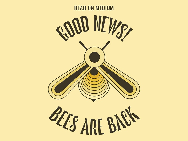 Good News! Bees are Back gradient circular layout minimal typedesign typography yellow simple flyer poster geometric art geometric geometric design lockup layout design illustrator illustration bee drawing bee illustration bees bee