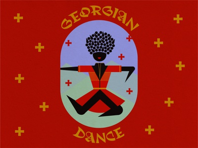 Georgian Dancer layout design shapes digital drawing typeface traditional culture mountains symmetry geometric design illustrator red color exploration illustration digital art typography person dancing geometry dance dancer