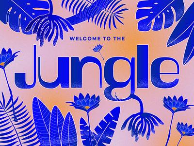Welcome to the Jungle type exercize type design cobalt blue orange pink texture stippled stipple illustrator digital drawing color exploration illustration digital art typography
