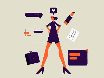 Girl boss design illustration