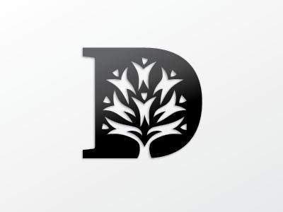 """D2"" identity logo design negative space letters"