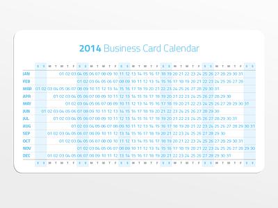 2014 Business Card Calendar design print calendar personal