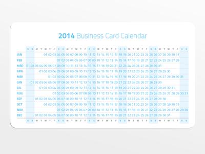 2014 Business Card Calendar