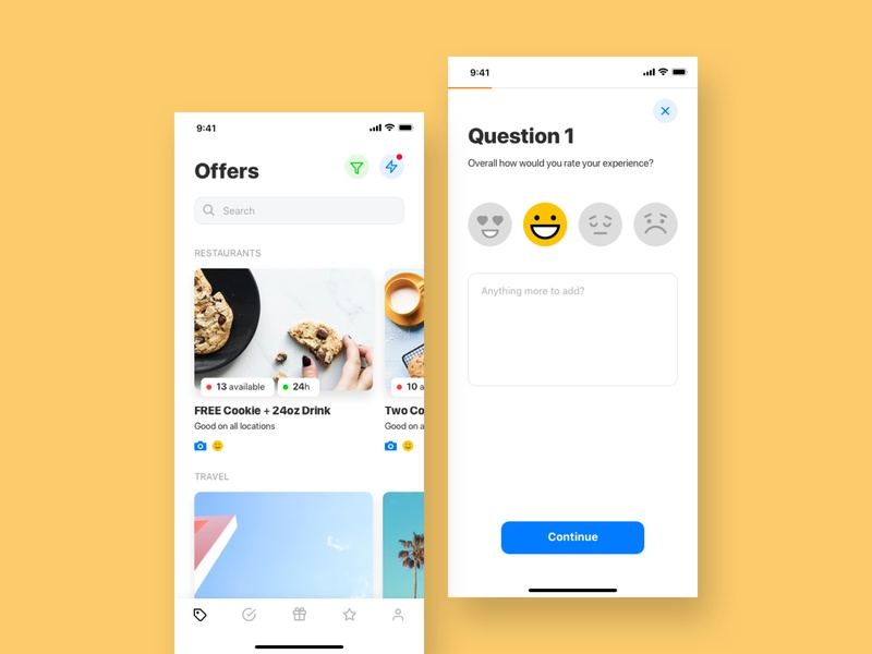 Concept designs for a location based offers app 💛 clean white mustard yellow offers android ios mobile design user experience ux ui