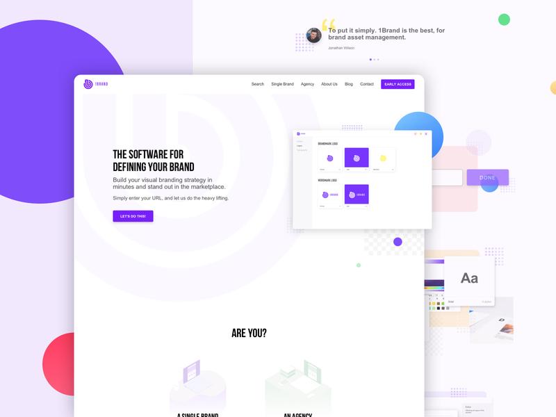 Brand management platform - 1Brand app web website design typography site landing page user experience ux ui