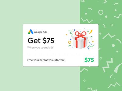Google Ads Voucher red white discount card discount gifts ui green coupon card gift card voucher google gift