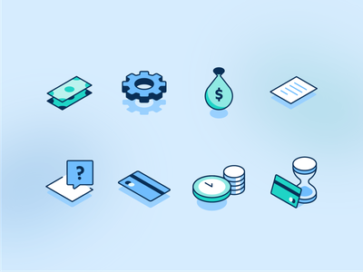 Pandemic Finance Icons lines clean isometric expense payment money bag balance icons illustration finance cash covid19 pandemic money bank credit card credit