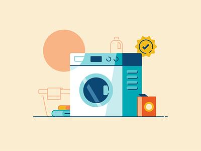 Laundry environment water detergent flat illustration laundry machine washing bathroom