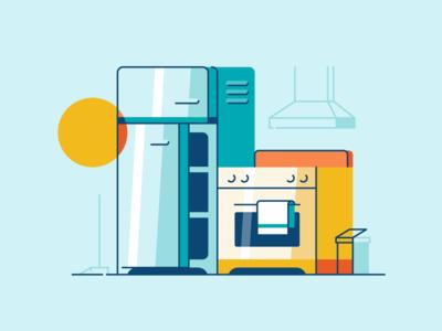 Appliances illustration flat environment energy electricity stove fridge kitchen appliance