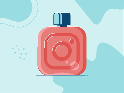 Instagram Perfume flat illustration hashtag freebie bottle instagram fragrance perfume makeup skincare cosmetics beauty