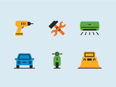 Noise Regulation Icons geometric design snow removal truck car air conditioner construction vehicle loud sound regulations noise icon simple flat illustration