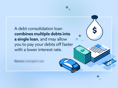Debt Consolidation Loan icons flat lines isometric design illustration cash bank finance money loan debt consolidation credit card car