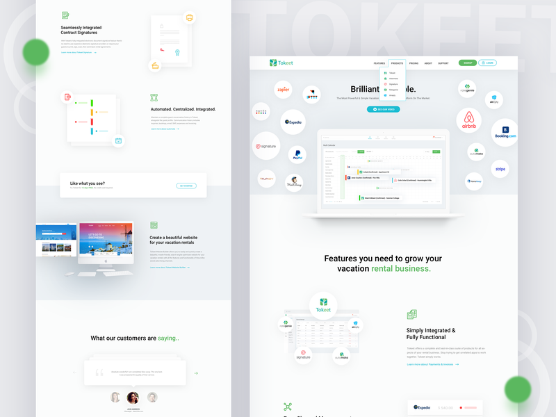 Tokeet Homepage modern clean flat minimal corporate rental tokeet homepage
