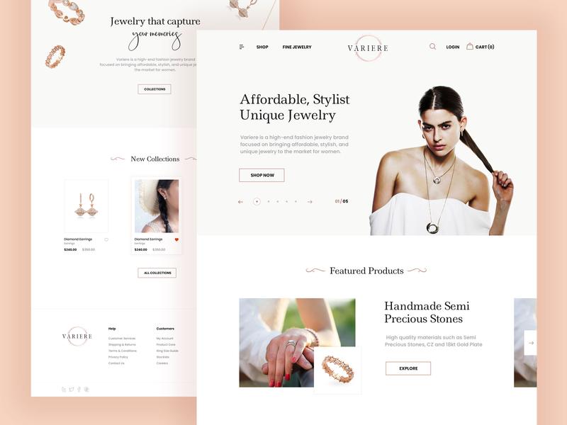Jewellery Website white ux ui typography minimalist modern clean minimal ecommerce design shopping cart online shopping jewellery jewelry