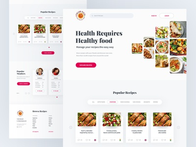 Recipes Homepage typography clean website modern restaurant add recipes healthy cooking food recipe app recipes